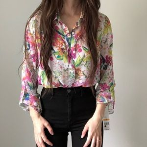 NWT Rafaella Floral Tropical Button Blouse Top q
